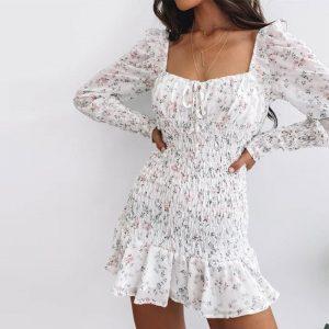 Bohemian Long Sleeve Flower Dress