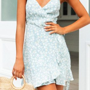 Bohemian Short Dress with Thin Straps