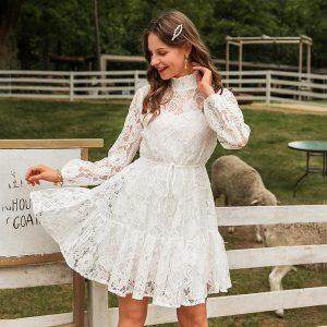 White lace short dress bohemian style