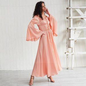 Bohemian pink maxi dress