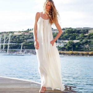 Bohemian long white dress