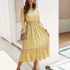 Bohemian chic yellow dress
