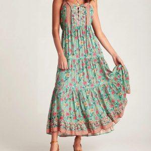 Green bohemian maxi dress