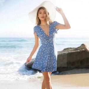 Dress bohemian style blue